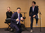 Patrick Morrow, Justin Paul and Benj Pasek during An Evening Of Legacy, Philanthropy & Music For The Benefit Of The Dramatists Guild Foundation at Morgan Stanley Headquarters on May 13, 2019 in New York City.