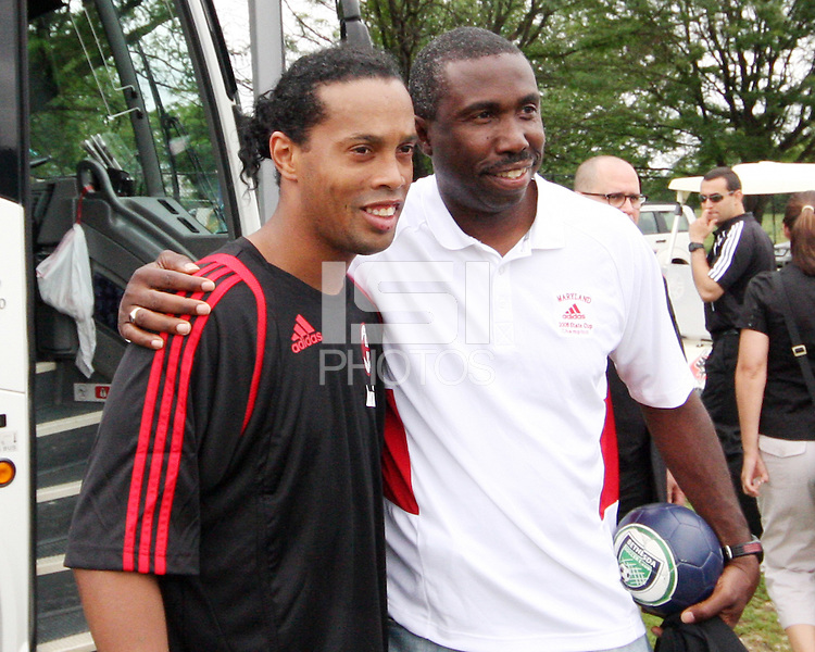 Ronaldinho of A.C.Milan poses with a fan during a practice session at RFK training facility in Washington D.C. on May 24, 2010.