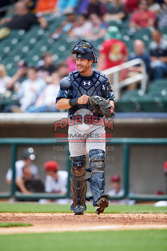 Jacksonville Jumbo Shrimp catcher Cam Maron (7) during a game against the Birmingham Barons on April 24, 2017 at Regions Field in Birmingham, Alabama.  Jacksonville defeated Birmingham 4-1.  (Mike Janes/Four Seam Images)
