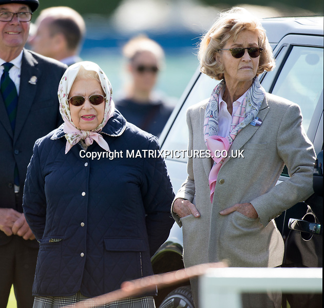 NON EXCLUSIVE PICTURE: MATRIXPICTURES.CO.UK<br /> PLEASE CREDIT ALL USES<br /> <br /> WORLD RIGHTS<br /> <br /> Queen Elizabeth II attends day 3 of the Royal Windsor Horse Show at Home Park in Windsor, Berkshire.<br /> <br /> This year marks the 75th Anniversary of the Windsor Horse Show which was first held in 1943.<br /> <br /> MAY 11th 2018<br /> <br /> REF: HMA 181555