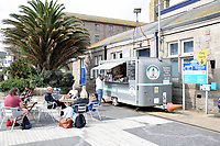 Mobile cafe, Penzance railway station, Cornwall, UK