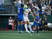 Seattle, WA - Saturday July 16, 2016: Keelin Winters, Abby Erceg during a regular season National Women's Soccer League (NWSL) match between the Seattle Reign FC and the Western New York Flash at Memorial Stadium.