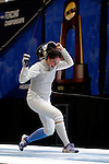 25 MAR 2016:  Columbia's Jackie Dubrovich reacts to winning her semi final women's foil match at the Division I Women's Fencing Championship is held at the Gosman Sports and Convention Center in Waltham, MA.   Damian Strohmeyer/NCAA Photos