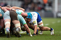 Zach Mercer of Bath Rugby in action at a scrum. Aviva Premiership match, between Harlequins and Bath Rugby on March 2, 2018 at the Twickenham Stoop in London, England. Photo by: Patrick Khachfe / Onside Images