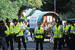 Romany gypsies at the Horsmonden horse fair in Kent.  On this occasion the police were preventing the Romanies from reaching the green in Horsmonden by creating an exclsion zone around the Kent village.