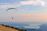Paragliders flying at sunset, Sainte-Croix lake (Licence this image exclusively with Getty: http://www.gettyimages.com/detail/95794844 )