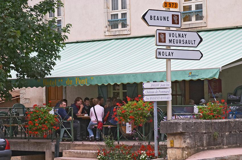 road sign pommard cote de beaune burgundy france