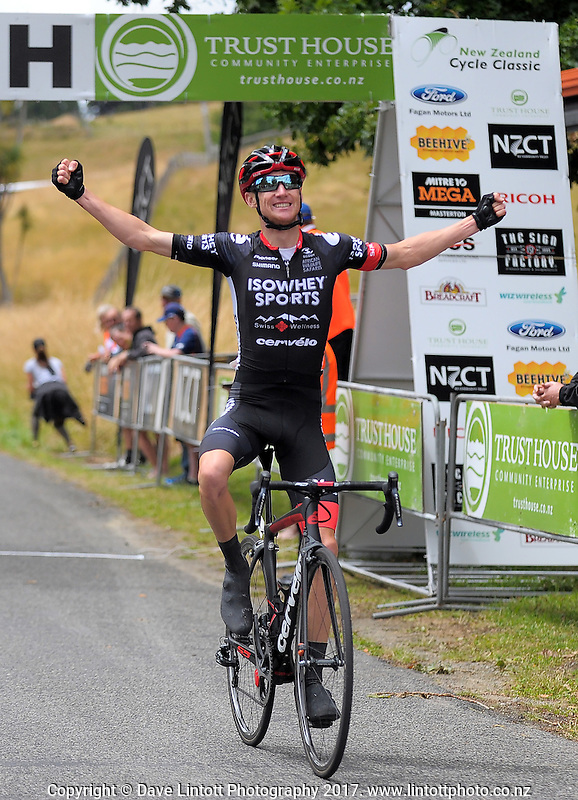 IsoWhey Sports SwissWellness' Sam Crome wins the NZ Cycle Classic stage two of the UCI Oceania Tour in Wairarapa, New Zealand on Monday, 23 January 2017. Photo: Dave Lintott / lintottphoto.co.nz