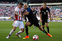 Action photo during the match United States vs Paraguay, Corresponding to  Group -A- of the America Cup Centenary 2016 at Lincoln Financial Field Stadium.<br /> <br /> Foto de accion durante el partido Estados Unidos vs Paraguay, Correspondiente al Grupo -A- de la Copa America Centenario 2016 en el Estadio Lincoln Financial Field , en la foto: (i-d),  Antonio Sanabria de Paraguay y John Brooks de USA<br />  <br /> <br /> 11/06/2016/MEXSPORT/Osvaldo Aguilar.