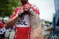 Kenny De Haes' (BEL/Lotto-Belisol) newest tattoo<br /> <br /> 54th Druivenkoers 2014<br /> Huldenberg - Overijse (Belgium): 196km