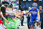 Defending champion and pre race favourite Julian Alaphilippe (FRA) Deceuninck-Quick Step before the start of the 83rd edition of La Fl&egrave;che Wallonne 2019, running 195km from Ans to Huy, Belgium. 24th April 2019<br /> Picture: ASO/Gautier Demouveaux | Cyclefile<br /> All photos usage must carry mandatory copyright credit (&copy; Cyclefile | ASO/Gautier Demouveaux)