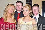 DEBS: Looking great at the Mercy Mounthawk Secondary School Debs in the Abbey Gate Hotel, Tralee on Friday night were l-r: Rebecca Spellman, Jason McCoy (Tralee), Megan Dunne (Ardfert) and Luke Reidy (Blennerville).   Copyright Kerry's Eye 2008