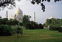 Lush garden in front of the Taj Mahal, Agra, India.