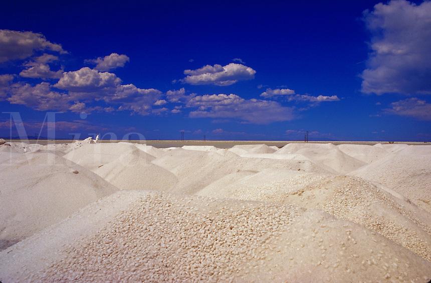 Mounds of mined salt, Grantsville, Utah
