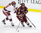Kathryn Farni (Harvard - 8), Ashley Motherwell (BC - 18) - The Harvard University Crimson defeated the Boston College Eagles 5-0 in their Beanpot semi-final game on Tuesday, February 2, 2010 at the Bright Hockey Center in Cambridge, Massachusetts.
