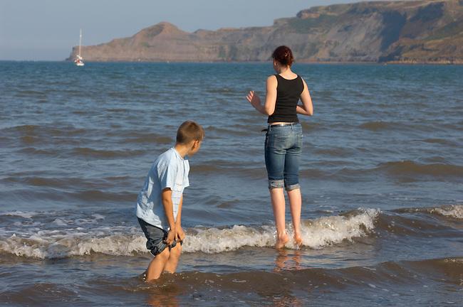 Runswick Bay - North Yorkshire - England - children jumping waves