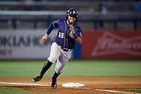 San Antonio Missions first baseman Fernando Perez (22) rounds third base during a game against the Tulsa Drillers on June 1, 2017 at ONEOK Field in Tulsa, Oklahoma.  Tulsa defeated San Antonio 5-4 in eleven innings.  (Mike Janes/Four Seam Images)