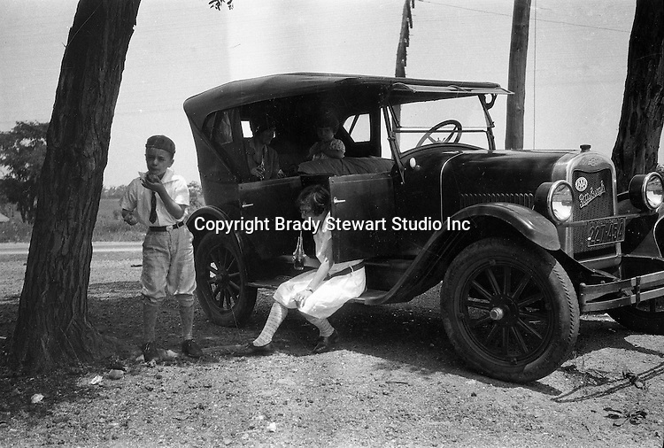 East Brady PA:  Stewart family taking break during a vacation trip to Lake Erie.  Stewart's were traveling in their 1926 Chevrolet Touring Car - 1927.  The route took them from Wilkinsburg to Brady's Bend via Rt 28. Brady Stewart's mother, Alice Brady Stewart wanted to see where her great uncle, Captain Sam Brady, rescued two young children from Indians that had killed their mother.