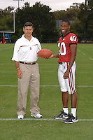 7 August 2006: Stanford Cardinal head coach Walt Harris and Kris Evans during Stanford Football's Team Photo Day at Stanford Football's Practice Field in Stanford, CA.