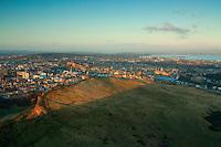 Salisbury Crags, Edinburgh and the Firth of Forth from Arthur's Seat, Edinburgh, Lothian