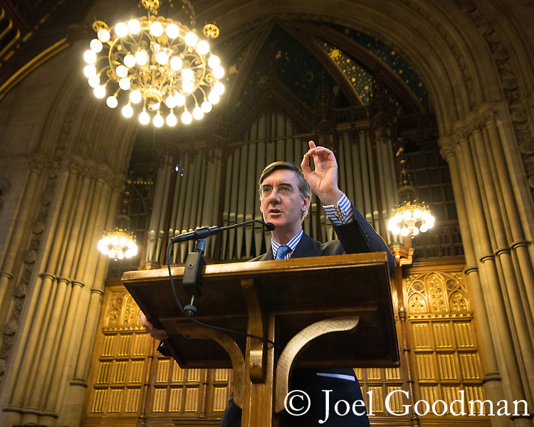© Joel Goodman - 07973 332324 . 02/10/2017. Manchester, UK. JACOB REES-MOGG speaking at a fringe , right-wing Bruges Group event at Manchester Town Hall during the second day of the Conservative Party Conference at the Manchester Central Convention Centre . Photo credit : Joel Goodman