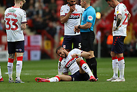 Rudy Gestede of Middlesbrough goes down injured during Charlton Athletic vs Middlesbrough, Sky Bet EFL Championship Football at The Valley on 7th March 2020