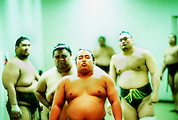 Sumo wrestlers await their turn in the ring during the Nihon Sumo-Kyokai tournament in the the Ryogoku Kokugikan, in Tokyo, Japan.