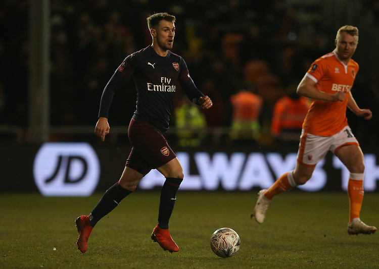 Arsenal's Aaron Ramsey<br /> <br /> Photographer Stephen White/CameraSport<br /> <br /> Emirates FA Cup Third Round - Blackpool v Arsenal - Saturday 5th January 2019 - Bloomfield Road - Blackpool<br />  <br /> World Copyright © 2019 CameraSport. All rights reserved. 43 Linden Ave. Countesthorpe. Leicester. England. LE8 5PG - Tel: +44 (0) 116 277 4147 - admin@camerasport.com - www.camerasport.com
