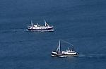 Fischerboote von der Aussichtsplattform von Königsstuhl aus gesehen, Fishing-boats seen from the observation-platform of Königsstuhl, Insel Rügen, Rügen Island, Baltic Sea, Ostsee, Mecklenburg-Vorpommern, Deutschland, Germany