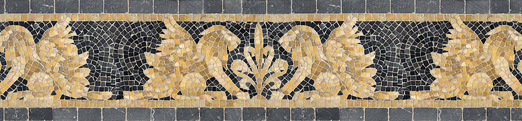 "9 1/2"" Griffin border, a hand-chopped stone mosaic, shown in tumbled Crema Valencia, Persian Gold, Giallo Reale, Dijon Gold, Travertine White, and Nero Marquina."