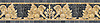 "9 1/2"" Griffin border, a hand-chopped stone mosaic, shown in tumbled Crema Valencia, Persian Gold, Giallo Reale, Dijon Gold, Travertine White, and Nero Marquina."