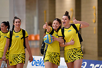 Central Manawa&rsquo;s Paris Lokotui and Elle Temu during the Beko Netball League - Central Manawa v Southern Blast at ASB Sports Centre, Wellington, New Zealand on Sunday 12 May 2019. <br /> Photo by Masanori Udagawa. <br /> www.photowellington.photoshelter.com