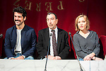 Miguel Angel Mu&ntilde;oz, Jose Luis Garci and Ana Carlota Fernandez during the presentation of the new production of the Spanish Theater &quot;Arte Nuevo&quot;  at spanish theater in Madrid, February 16, 2016<br /> (ALTERPHOTOS/BorjaB.Hojas)