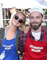 Los Angeles, CA - NOVEMBER 23: Jennifer Åkerman, Tom Payne, At Los Angeles Mission Thanksgiving Meal For The Homeless At Los Angeles Mission, California on November 23, 2016. Credit: Faye Sadou/MediaPunch