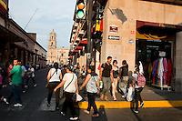 Street scene in Morelia, Michoacan, Mexico