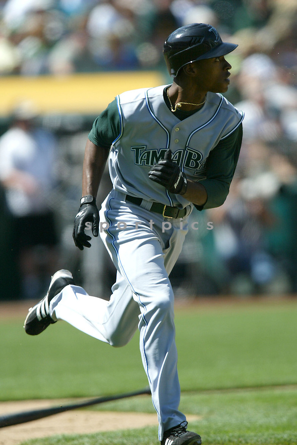 B.J. UPTON, of the Tampa Bay Devil Rays , in action during the  Devil Rays game against the Oakland A's  on April 29, 2007 in Oakland, California..Devil Rays win 5-3...Rob Holt/ SportPics..