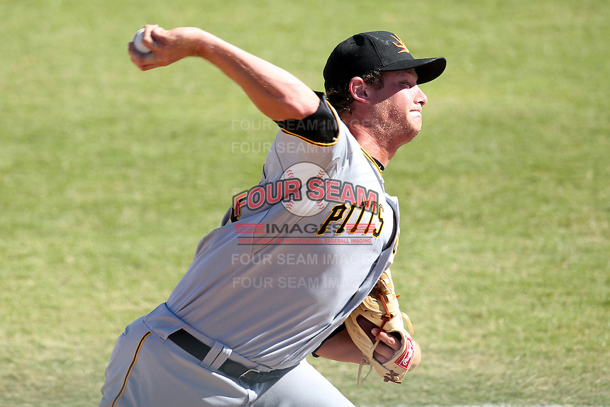 Mesa Solar Sox pitcher Gerrit Cole #23 delivers a pitch during an Arizona Fall League game against the Phoenix Desert Dogs at Phoenix Municipal Stadium on October 31, 2011 in Phoenix, Arizona.  Mesa defeated Phoenix 3-1.  (Mike Janes/Four Seam Images)