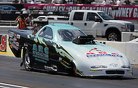 Aug. 31, 2013; Clermont, IN, USA: NHRA top alcohol funny car driver Steve Burck during qualifying for the US Nationals at Lucas Oil Raceway. Mandatory Credit: Mark J. Rebilas-