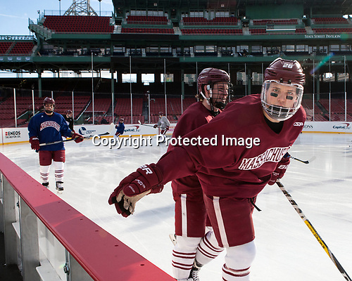 Kurt Keats (UMass - 17), Joseph Widmar (UMass - 26) - The UMass Minutemen practiced at Fenway Park on Friday, January 6, 2017, in Boston, Massachusetts.