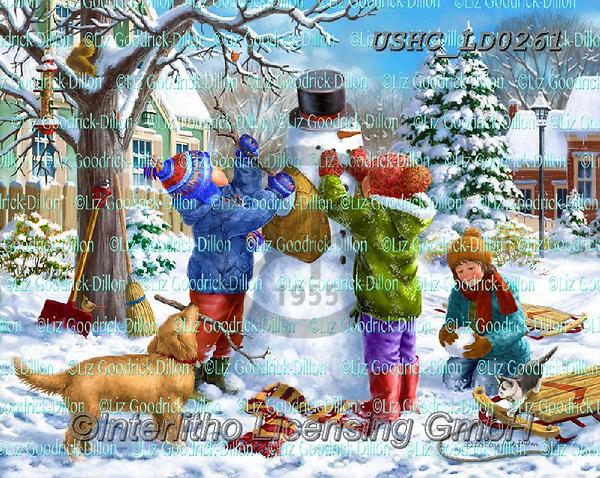 Liz,CHRISTMAS SANTA, SNOWMAN, WEIHNACHTSMÄNNER, SCHNEEMÄNNER, PAPÁ NOEL, MUÑECOS DE NIEVE, LizDillon, paintings+++++,USHCLD0261,#X#
