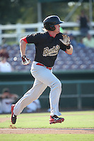 Marty Herum (26) of the Visalia Rawhide runs to first base during a game against the Inland Empire 66ers at San Manuel Stadium on June 26, 2016 in San Bernardino, California. Inland Empire defeated Visalia, 5-1. (Larry Goren/Four Seam Images)
