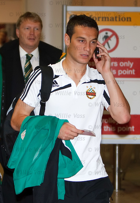 Rapid Vienna's Montenegro defender Milan Jovanovic arrives in Glasgow