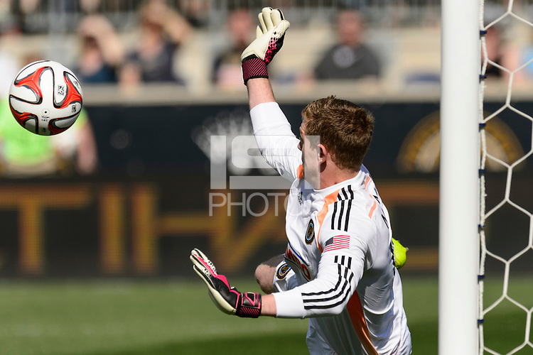Philadelphia Union goalkeeper Zac MacMath (18) stops a penalty kick during the first half of a Major League Soccer (MLS) match against Real Salt Lake at PPL Park in Chester, PA, on April 12, 2014.