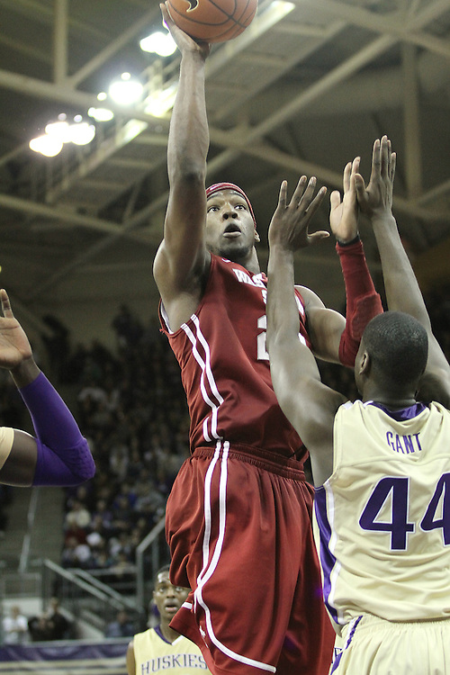 DeAngelo Casto, Washington State junior forward, elevates for two of his 20 points during the Cougars 80-69 road victory over arch-rival Washington at the Alaska Airlines Arena in Seattle, Washington, on February 27, 2011.  Casto also had 13 rebounds while recording a double-double in the contest.  With the victory, the Cougars swept the regular season series from the Huskies, two games to none.