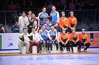 SHORTTRACK: DORDRECHT: Sportboulevard Dordrecht, 25-01-2015, ISU EK Shorttrack, Podium Relay Men, Csaba BURJÁN, Viktor KNOCH, Shaoang LIU, Sandor LIU SHAOLIN (Team Hungary), Victor AN, Semen ELISTRATOV, Vladimir GRIGOREV, Dmitry MIGUNOV, Ruslan ZAKHAROV (Team Russia), Daan BREEUWSMA, Itzhak DE LAAT, Sjinkie KNEGT, Freek VAN DER WART, Adwin SNELLINK (Team Netherlands), ©foto Martin de Jong