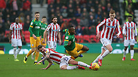Preston North End's Darnell Fisher is tackled by Stoke City's Josh Tymon<br /> <br /> Photographer Stephen White/CameraSport<br /> <br /> The EFL Sky Bet Championship - Stoke City v Preston North End - Saturday 26th January 2019 - bet365 Stadium - Stoke-on-Trent<br /> <br /> World Copyright © 2019 CameraSport. All rights reserved. 43 Linden Ave. Countesthorpe. Leicester. England. LE8 5PG - Tel: +44 (0) 116 277 4147 - admin@camerasport.com - www.camerasport.com