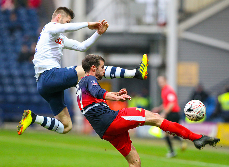 Doncaster Rovers' Matty Blair clears under pressure from Preston North End's Paul Gallagher<br /> <br /> Photographer Alex Dodd/CameraSport<br /> <br /> The Emirates FA Cup Third Round - Preston North End v Doncaster Rovers - Sunday 6th January 2019 - Deepdale Stadium - Preston<br />  <br /> World Copyright &copy; 2019 CameraSport. All rights reserved. 43 Linden Ave. Countesthorpe. Leicester. England. LE8 5PG - Tel: +44 (0) 116 277 4147 - admin@camerasport.com - www.camerasport.com