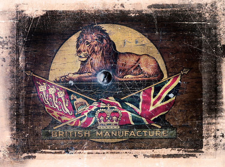Victorian emblem of British Empire with lion and union jack flag