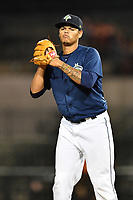Pitcher Darwin Ramos (33) of the Columbia Fireflies in a game against the West Virginia Power on Thursday, May 18, 2017, at Spirit Communications Park in Columbia, South Carolina. Columbia won in 10 innings, 3-2. (Tom Priddy/Four Seam Images)
