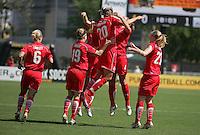 Washington Freedom players celebrate. Washington Freedom defeated FC Gold Pride 4-3 at Buck Shaw Stadium in Santa Clara, California on April 26, 2009.